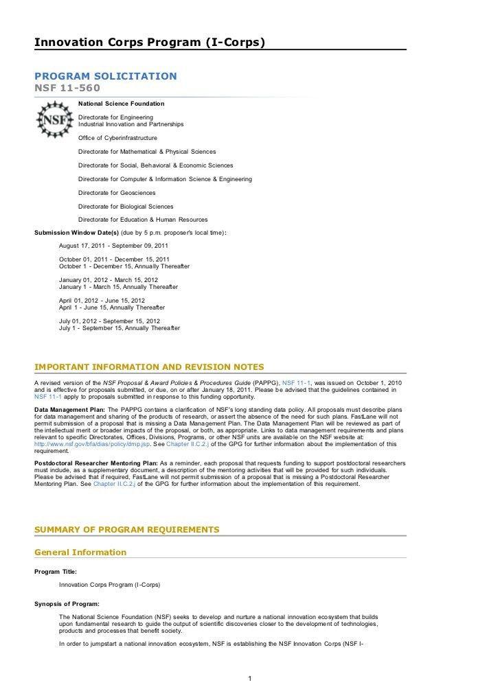 NSF I-Corps solicitation