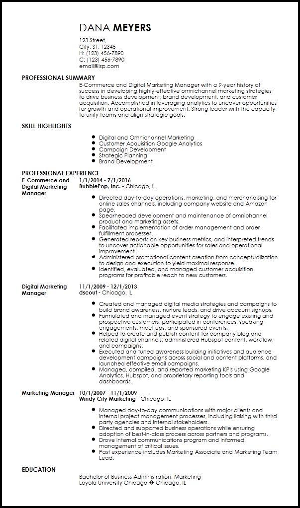 Free Contemporary Marketing Resume Templates | ResumeNow