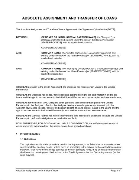 Absolute Assignment and Transfer of Loans - Template & Sample Form ...