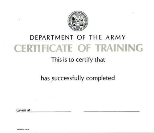 Army Certificate   eBay