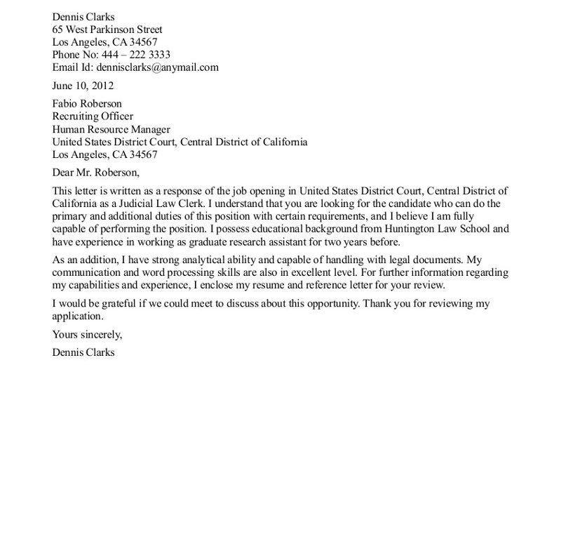 Pleasant Idea Clerkship Cover Letter 16 Law Firm Clerk Sample ...