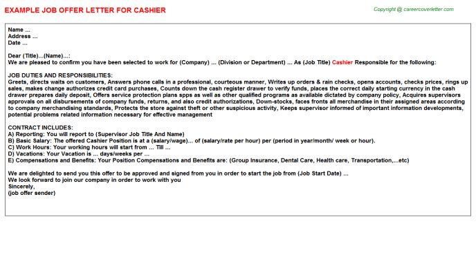 Cashier Offer Letter