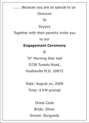 Engagement Ceremony Invitation Wordings,Engagement Ceremony ...