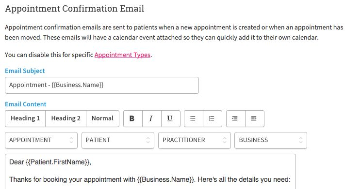 Setting Up Appointment Confirmation Emails – Cliniko Support