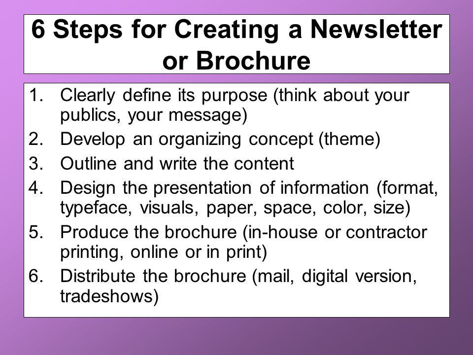 Newsletters and Brochures - ppt download