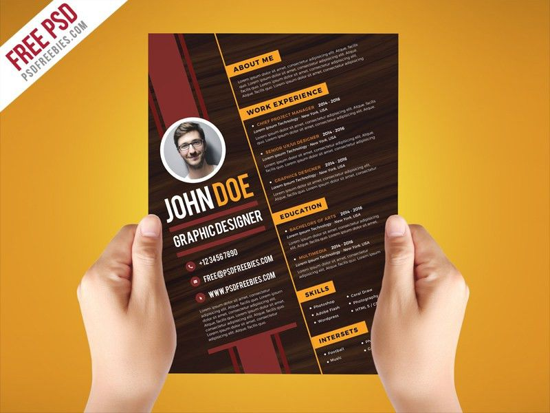 Free PSD : Creative Graphic Designer Resume Template PSD by PSD ...