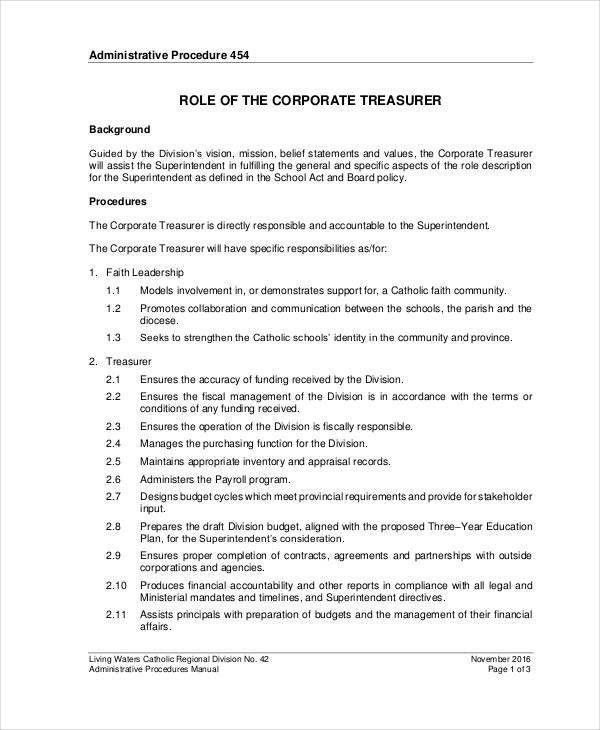 Treasurer Job Description - 9+ Free PDF, Word Documents Download ...