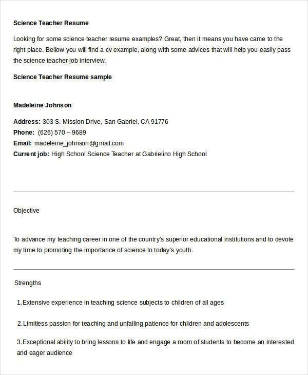 free teacher resume 40 free word pdf documents download free - Science Teacher Resume Download