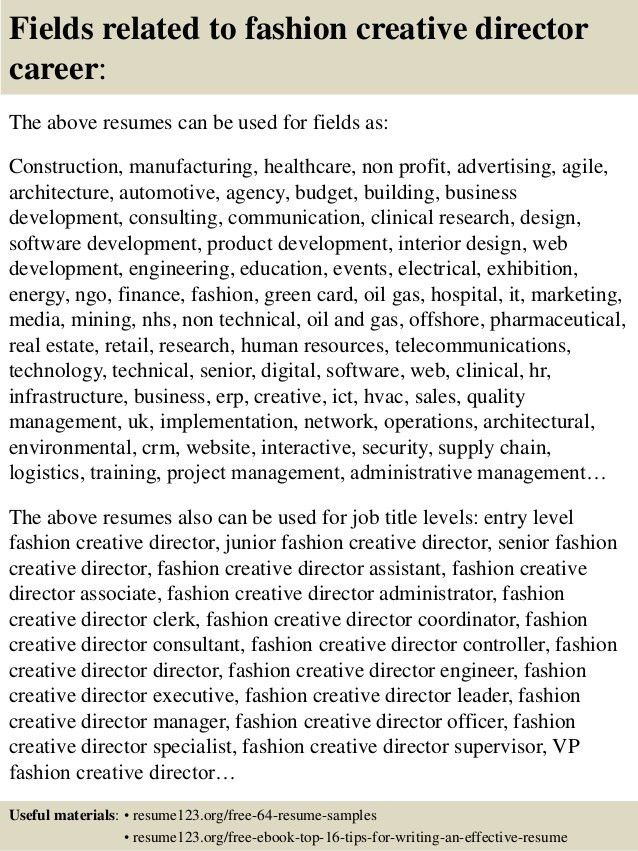 Top 8 fashion creative director resume samples