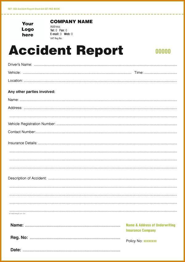 8+ accident report template | Job Resumes Word