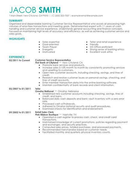 Best Financial Customer Service Representative Resume Example ...