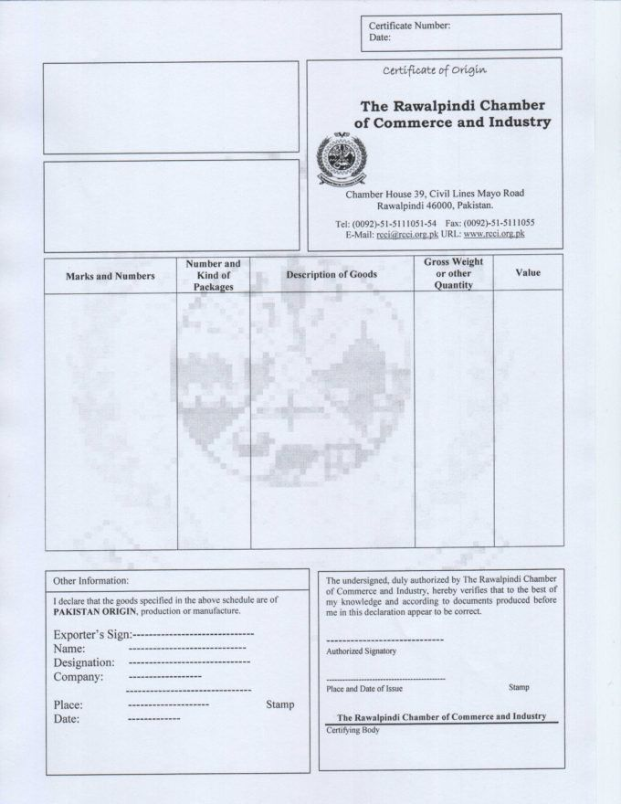 Downloadable Certificate Of Origin Form with Blue Theme Paper ...