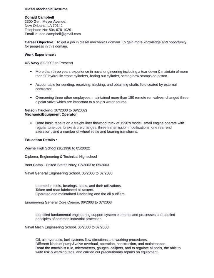 Professional Diesel Mechanic Resume Template