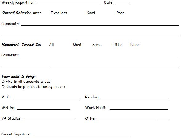 Weekly behavior reports for students' parents to sign. Might do ...