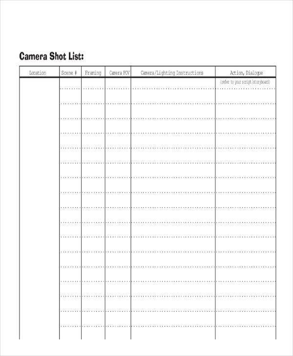 Shot List Sample - 9+ Examples in Word, PDF