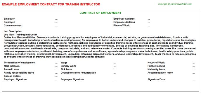Training Instructor Employment Contract