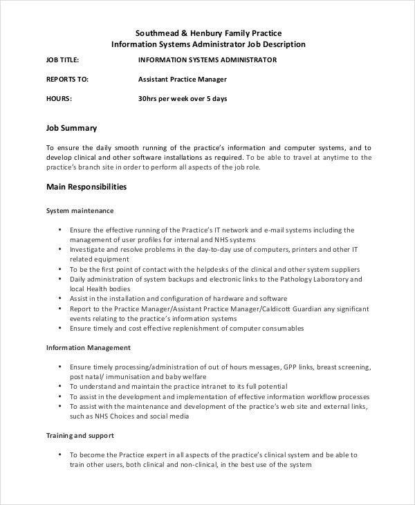System Administrator Job Description - Free Sample, Example ...