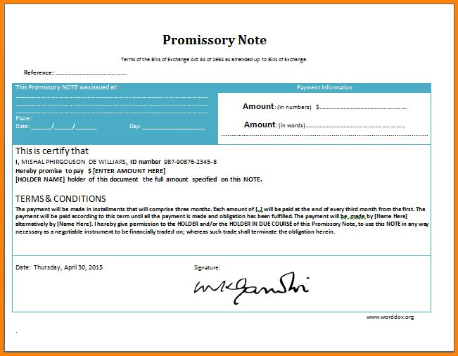 5+ promissory note template word | memo templates
