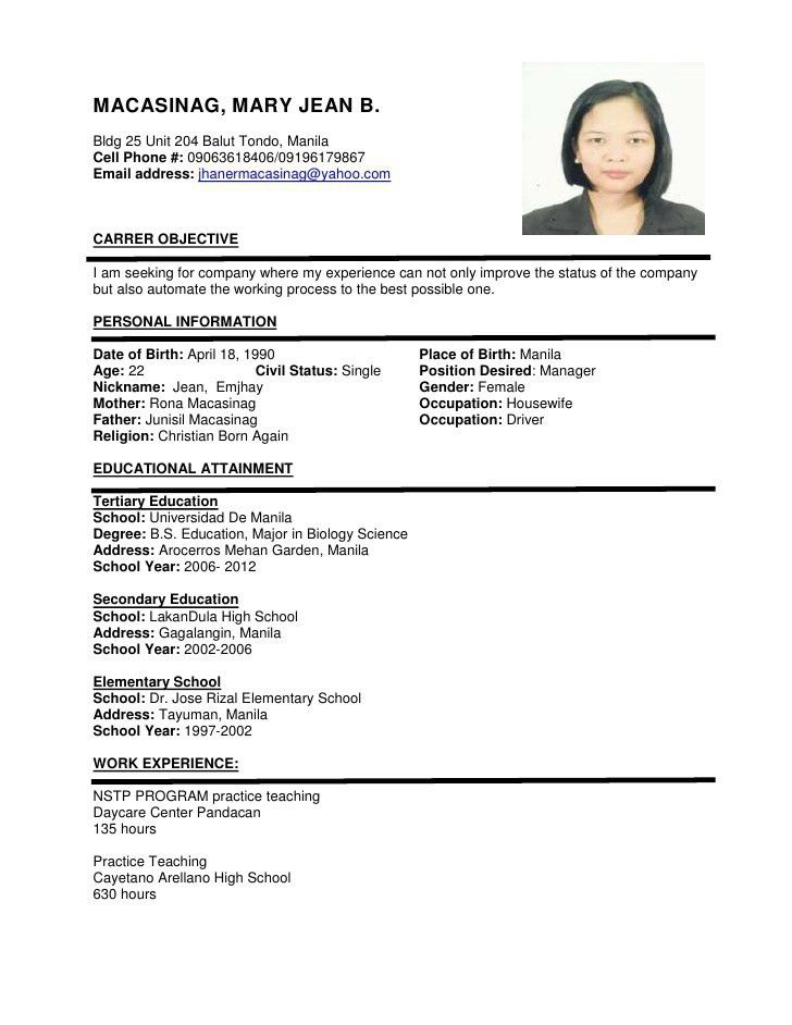 Stunning Idea Resume Sample Format 5 Sample Resume Format For ...