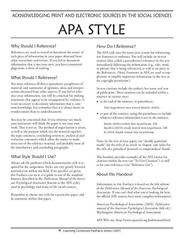apa 6th edition essay format