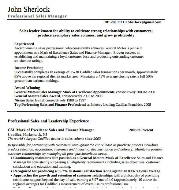 Sample Manager Resume Template - 9+ Free Samples, Examples, Format
