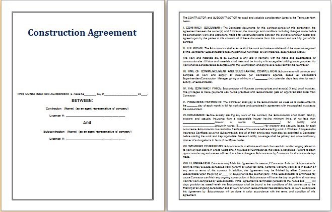MS Word Construction Agreement Template | Word Document Templates