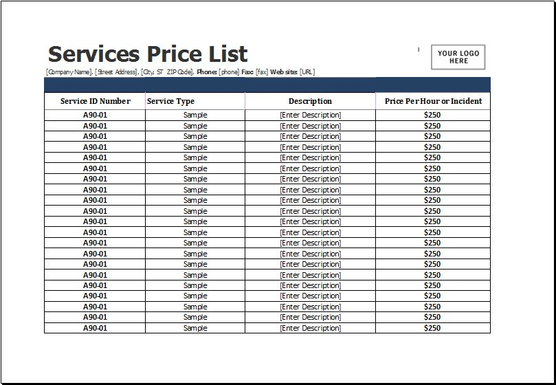 Services Price List Template for MS Excel | Excel Templates