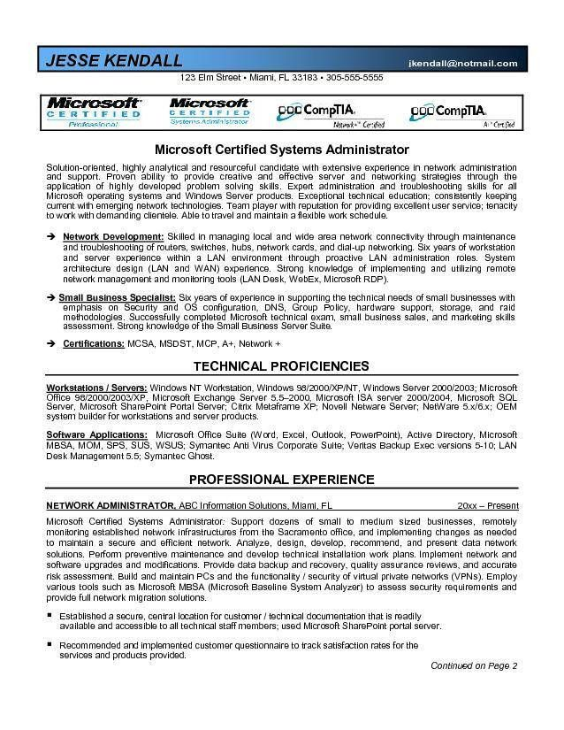 Certified System Administrator Resume