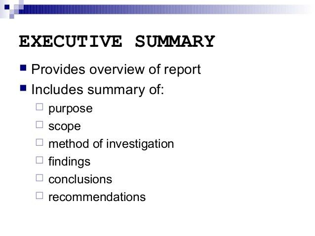 Report Writing - Executive Summary and other sections