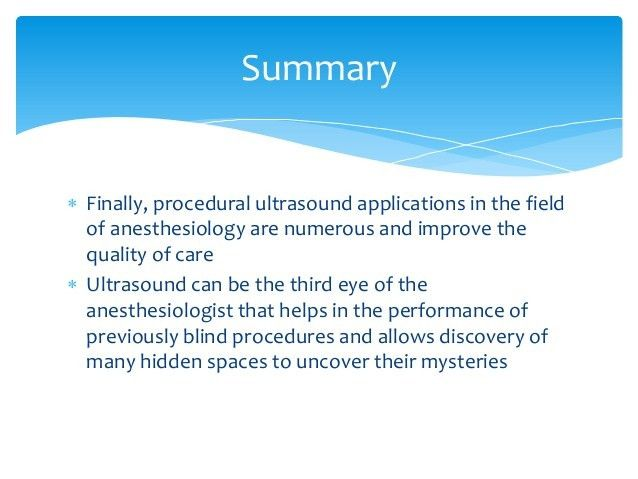 Uses of Ultrasound in Anesthesiology