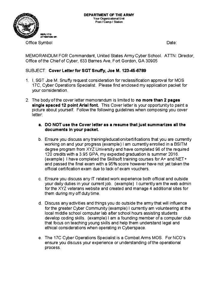 Official Memorandum Format for Army Free Download
