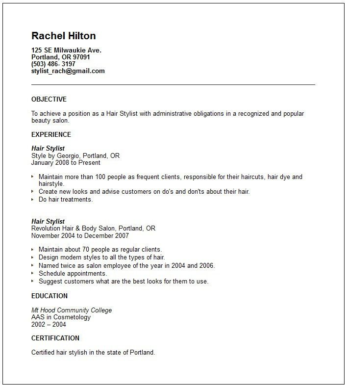 Fashion Stylist Resume Objective Examples - http://www ...