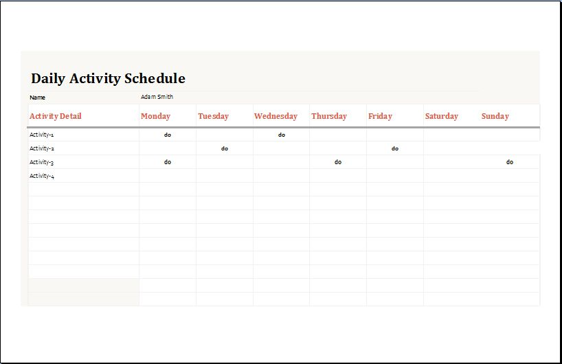 Daily Activity Planner Template for MS Excel | Word Document Templates