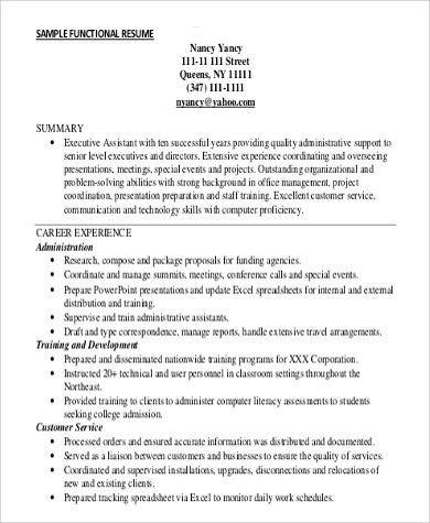 Functional Resume Sample - 9+ Examples in Word, PDF