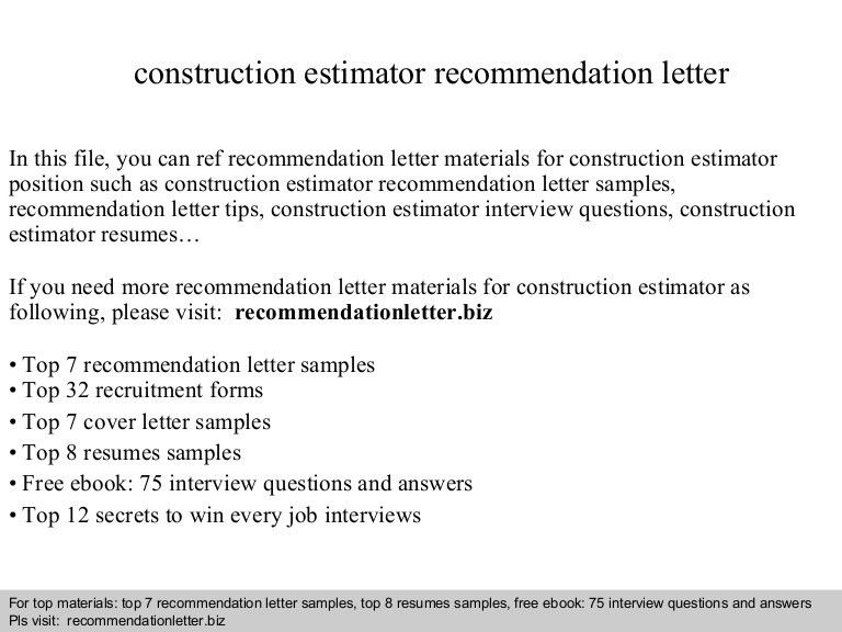 Construction estimator recommendation letter