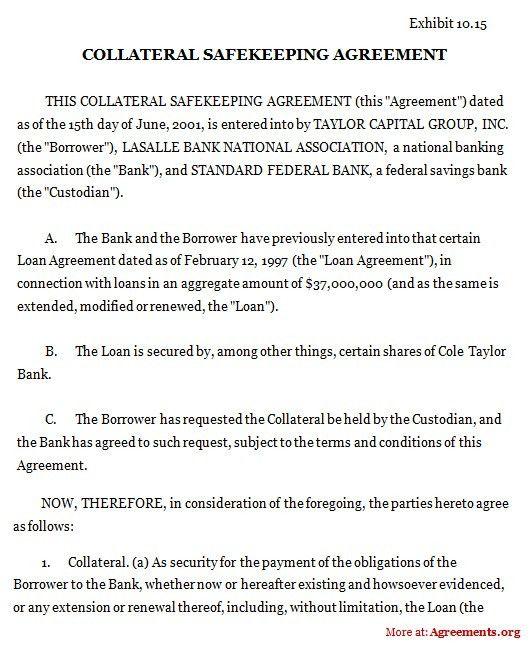 Collateral Safekeeping Agreement, Sample Collateral Safekeeping ...