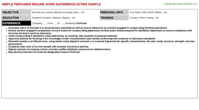 Perfumer Resume Sample