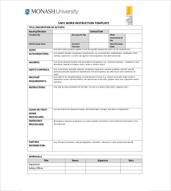 Instruction Template – 7+ Free Word, Excel, PDF Documents Download ...