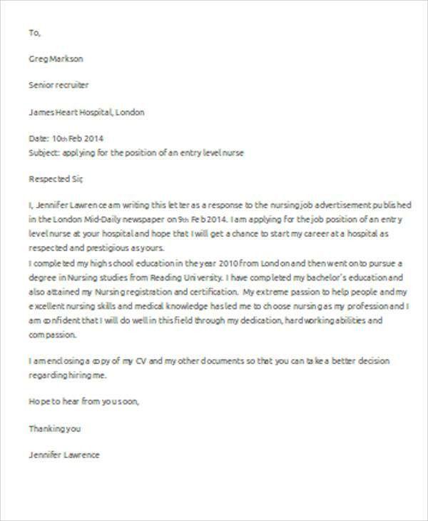 entry level nurse cover letter