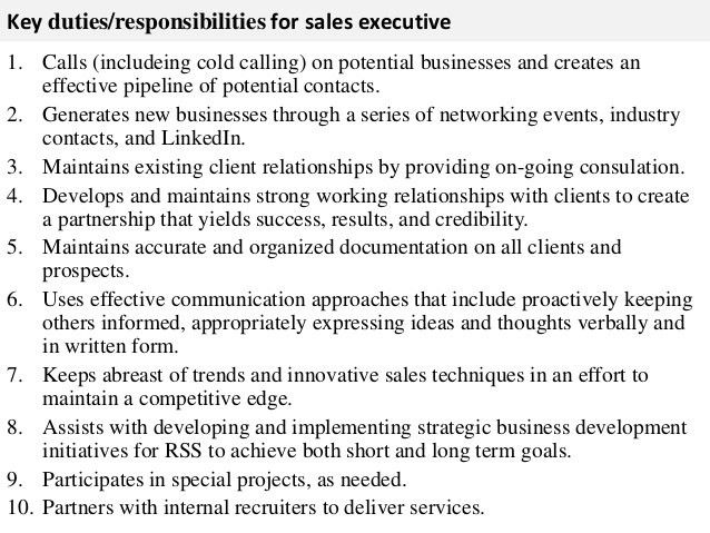Sales executive job description
