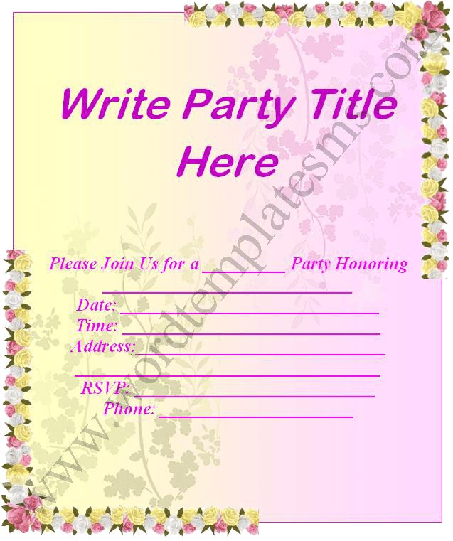 Party Invitation Template Word Minimalist | neabux.com