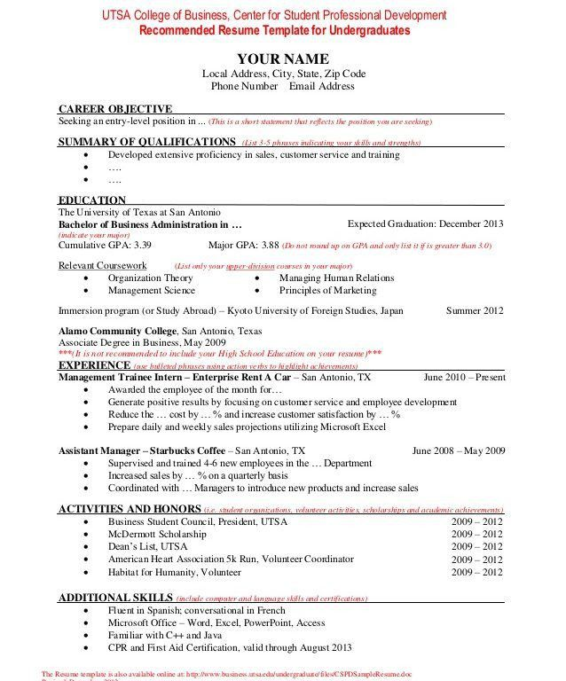 Download Utsa Resume Template | haadyaooverbayresort.com