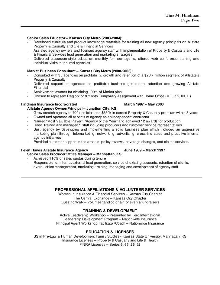 insurance agent resume highlights. insurance representative sample ...