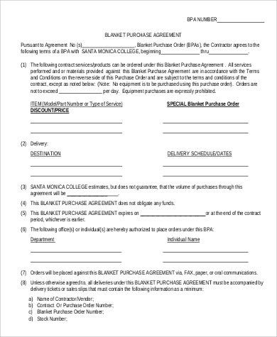 Sample Blanket Purchase Agreement - 9+ Examples in Word, PDF