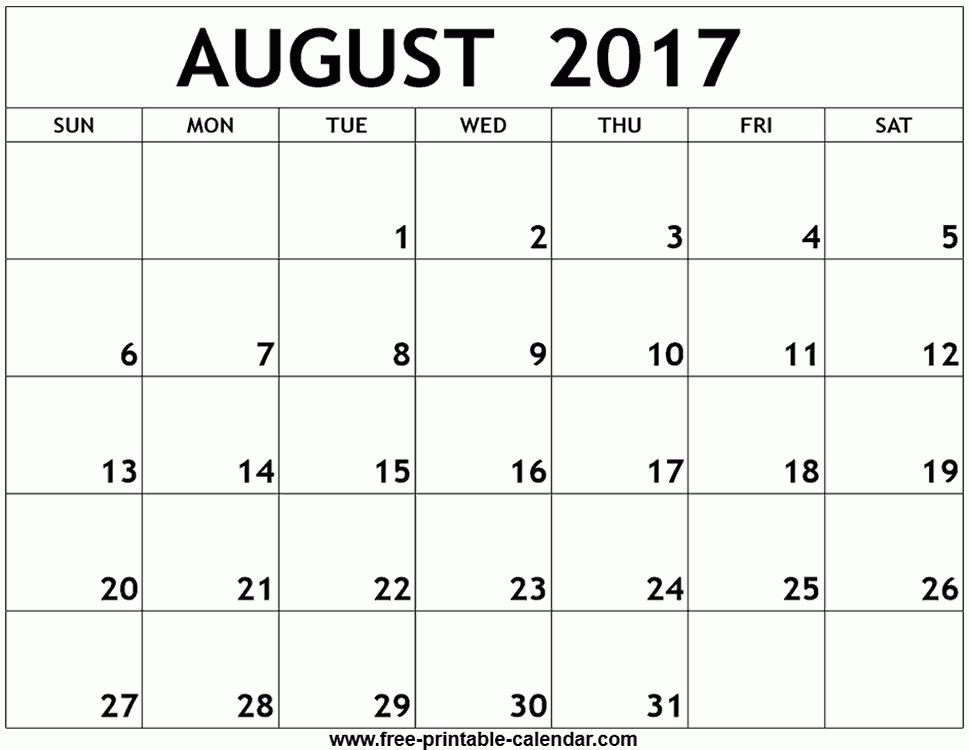 August 2017 calendar template word
