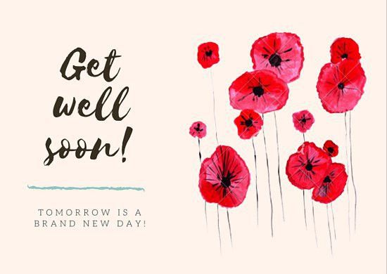 Red Flowers Get Well Soon Card - Templates by Canva