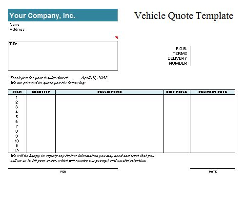 Vehicle Quotation Template | Free Quotation Templates