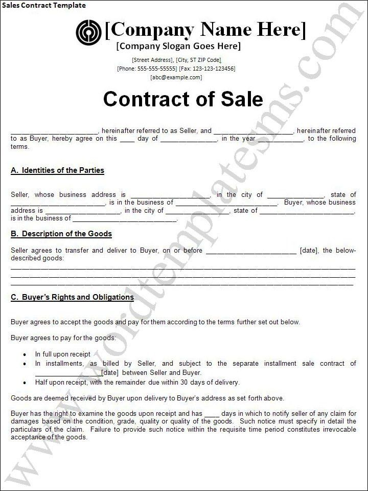 Sales Contract Template | cyberuse