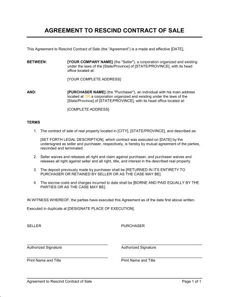 Agreement to Rescind Contract of Sale - Template & Sample Form ...