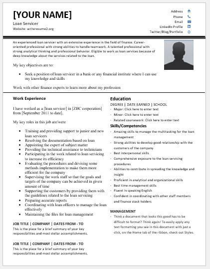 Loan Servicer Resume Templates for MS Word | Resume Templates